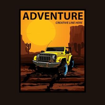 Gele jeep op de woestijn