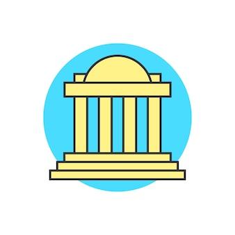 Gele justitie voortbouwend op blauwe cirkel. concept van hoofdstad, universiteit, instituut, overheid, tempel, toren. geïsoleerd op een witte achtergrond. vlakke stijl trend moderne logo ontwerp vectorillustratie
