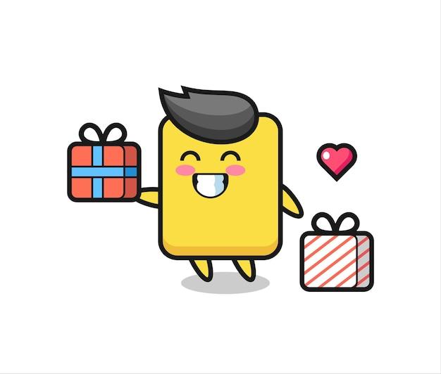 Gele kaart mascotte cartoon die het geschenk geeft, schattig stijlontwerp voor t-shirt, sticker, logo-element