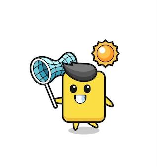 Gele kaart mascotte illustratie is het vangen van vlinder, schattig stijlontwerp voor t-shirt, sticker, logo-element