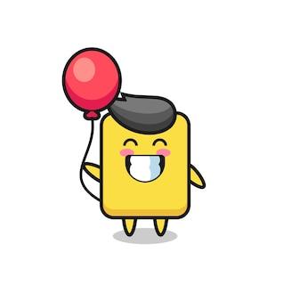 Gele kaart mascotte illustratie speelt ballon, schattig stijlontwerp voor t-shirt, sticker, logo-element