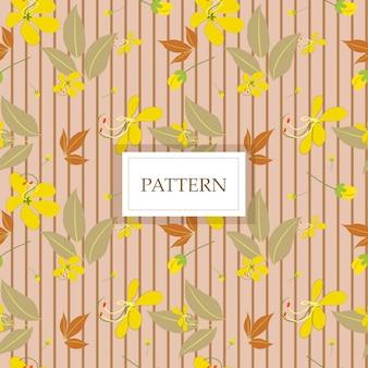 Gele kassieboombloem met bruine lijn naadloze patroon / achtergrond