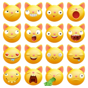 Gele kat emoticons stripfiguren