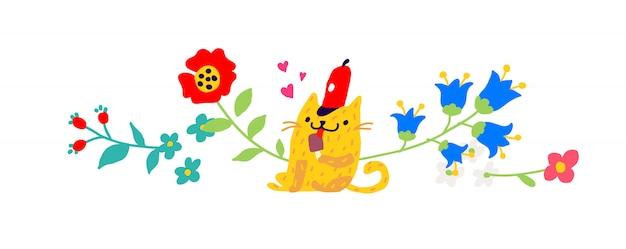 Gele kat in een rode dop met een ijsje.