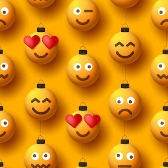Gele kerstballen met schattig gezicht naadloos patroon. emoticons op bubbelspeelgoed.