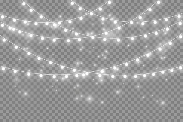 Gele kerstverlichting geïsoleerd realistische ontwerpelementen. kerstverlichting geïsoleerd op transparante achtergrond. kerst gloeiende slinger. vector illustratie.