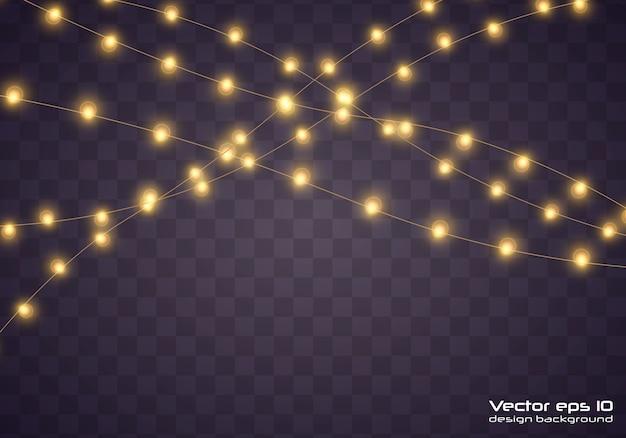 Gele kerstverlichting. kerstmis gloeiende slinger.
