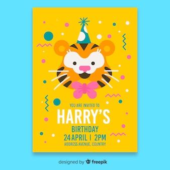 Gele kinderen verjaardag uitnodiging sjabloon