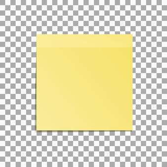 Gele kleverige nota die op transparante vectorillustratie wordt geïsoleerd als achtergrond