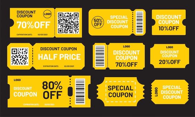 Gele kortingsbon set. halve prijs, 10, 20, 50, 70, 80% korting op offertesjabloon. premium kortingsbonnen en de beste promo-kortingsbonnen.
