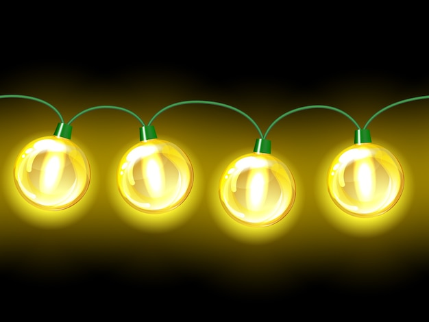 Gele lamp feestelijke slinger. naadloos op zwarte achtergrond