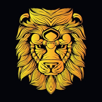 Gele leeuwenkop illustratie