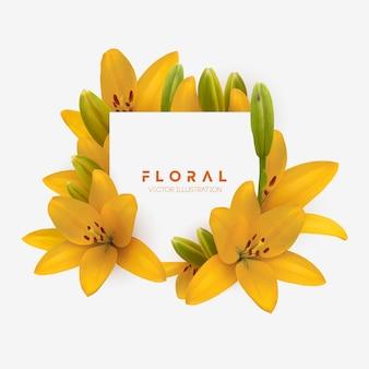 Gele lelie bloemboeket geïsoleerd vector illustratie gele lelies geïsoleerd