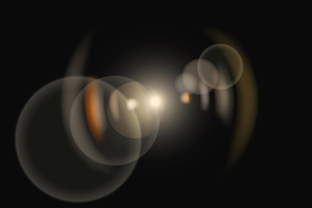 Gele lensflarevector met ringspookverlichtingseffect