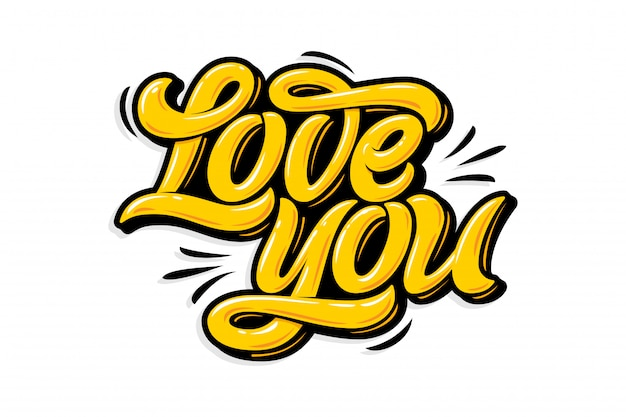 Gele letters hou van je op witte geïsoleerde achtergrond