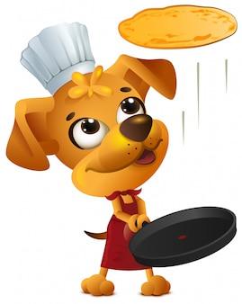 Gele leuke hond chef kok gooit pannenkoek