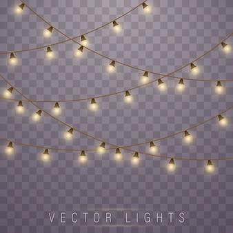 Gele lichten geïsoleerde realistische ontwerpelementen. lichten geïsoleerd op transparante achtergrond.