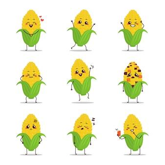 Gele maïs fruit pictogram cartoon karikatuur emoticon expressie doen dagelijks eten zingende muziek gelukkig vrolijk dansen nemen selfie verliefd