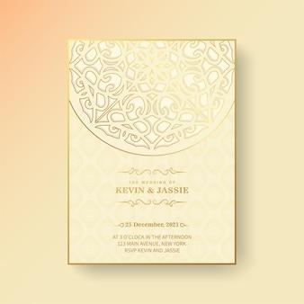 Gele mandala stijl bruiloft uitnodiging
