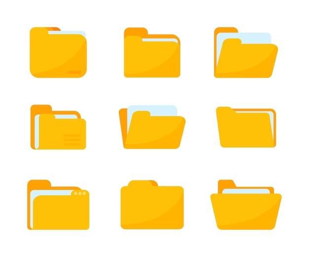 Gele mappen voor het ordenen van documenten. grote hoeveelheden gegevens sorteren
