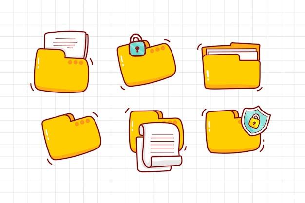 Gele mappictogrammen instellen handgetekende cartoon kunst illustratie