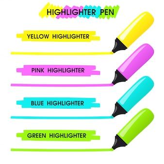 Gele markeerstift trek een lange lijn over de tekst om uw bericht te markeren.