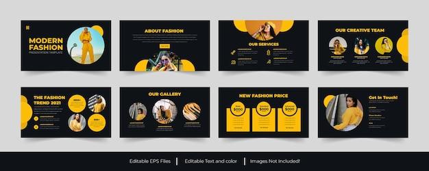 Gele mode powerpoint-presentatiesjabloon