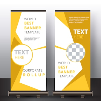 Gele moderne roll-up banner