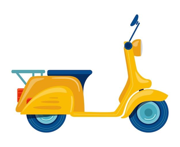 Gele motorfiets scooter bromfiets getekend in vlakke stijl vectorillustratie geïsoleerd op wit