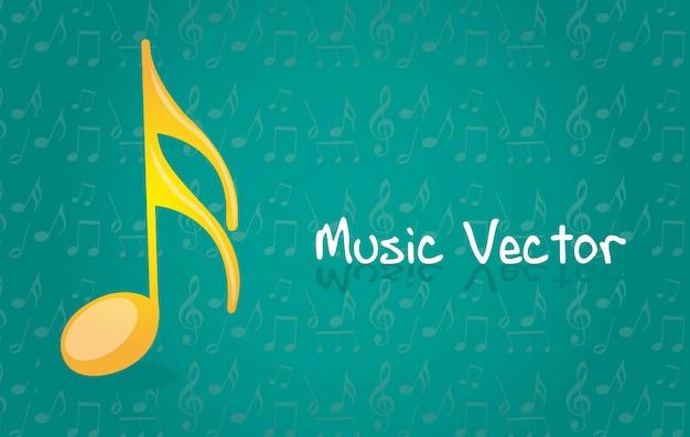 Gele muzieknota over blauwe vectorillustratie als achtergrond