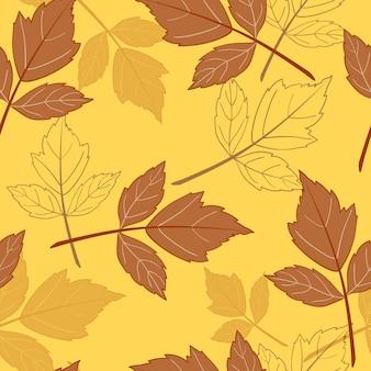 Gele naadloze achtergrond met bladeren