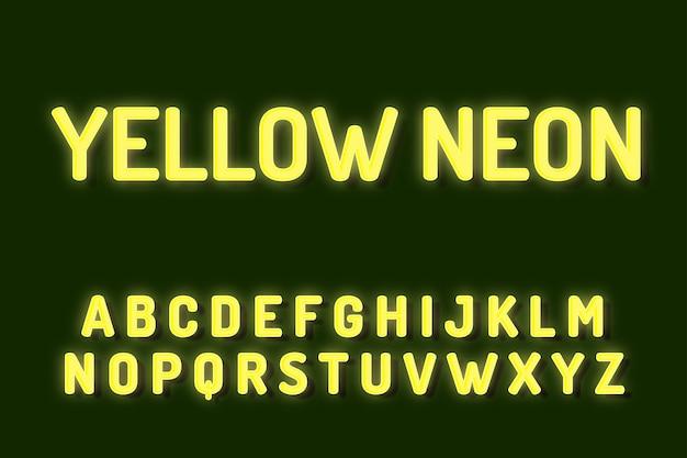 Gele neon lettertype alfabet teksteffecten