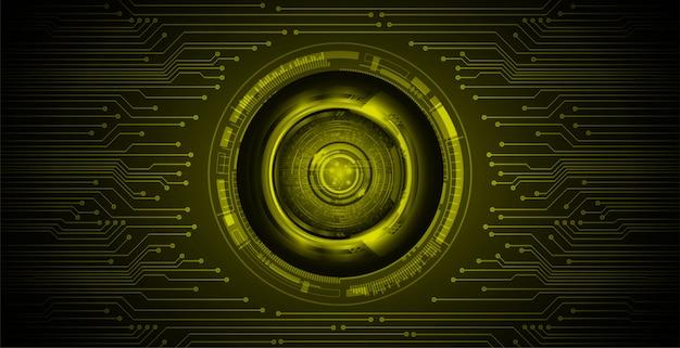 Gele ogen cyber circuit toekomstige technologie concept achtergrond