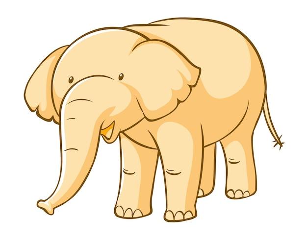 Gele olifant op witte achtergrond
