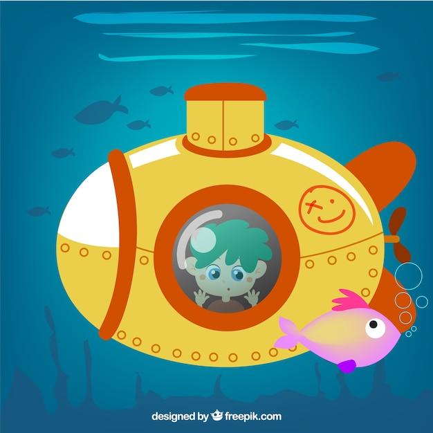 Gele onderzeeër illustratie