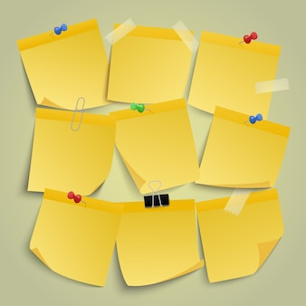 Gele papieren notities. noteer memostickers, herinner kleverig zakelijk papier eraan, let op post-it pin notitie illustratie pictogrammen instellen. memobureau met speld, post kleverig geel