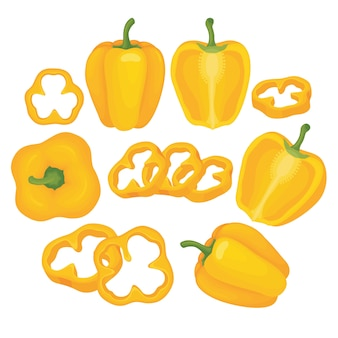Gele paprika vector set illustratie