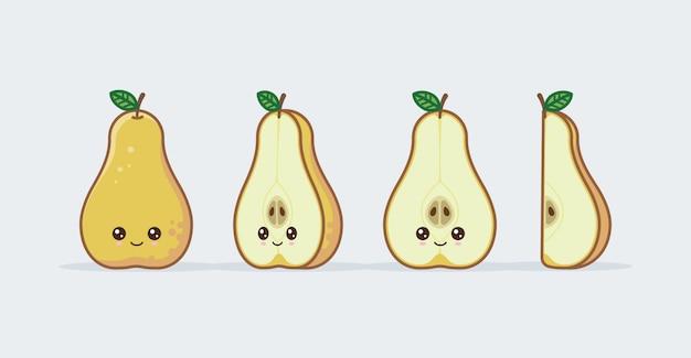 Gele peren set getekende schattige kawaii voedselgezichten