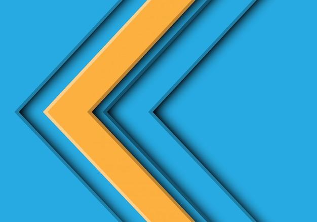 Gele pijlrichting op blauwe futuristische achtergrond.