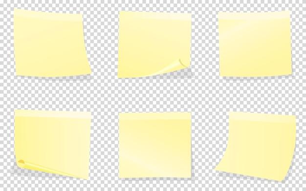Gele post-it notities geïsoleerd op transparant