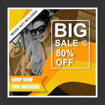 Gele promotie verkoop banner