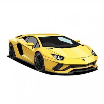 Gele raceauto illustratie