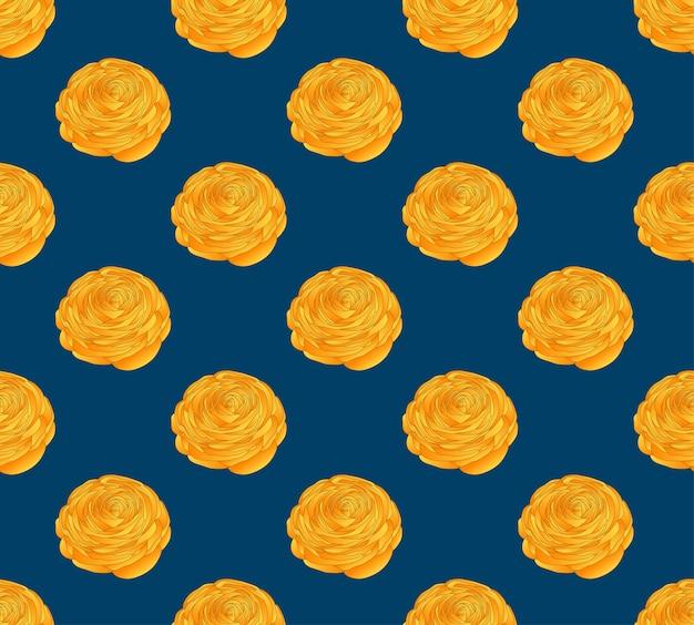 Gele ranunculus op indigo blauwe achtergrond