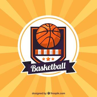Gele retro achtergrond van het basketbal
