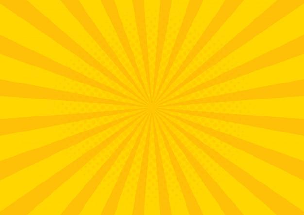 Gele retro vintage stijlachtergrond met zonnestralen