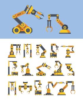 Gele robotarmen platte vectorillustraties instellen