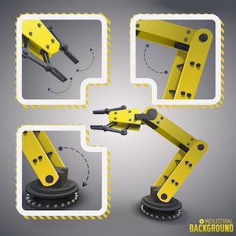 Gele robots arm concepten met drie geïsoleerde delen van de robot in icon set gecombineerd rond de volledige versie van de machine