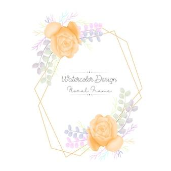 Gele roos en bladeren aquarel bloemenframe