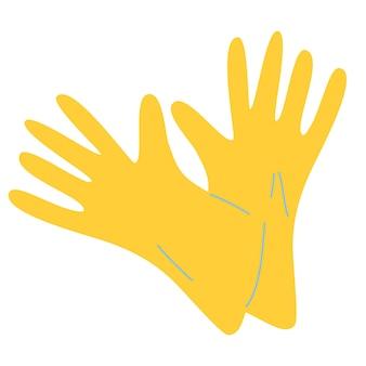 Gele rubberen handschoenen. latexhandschoenen als symbool van bescherming tegen virussen en bacteriën. hygiëne, schoonmaken, wassen, huishoudelijk werk. werk- en beschermingsmiddelen. vectorillustratie in vlakke stijl