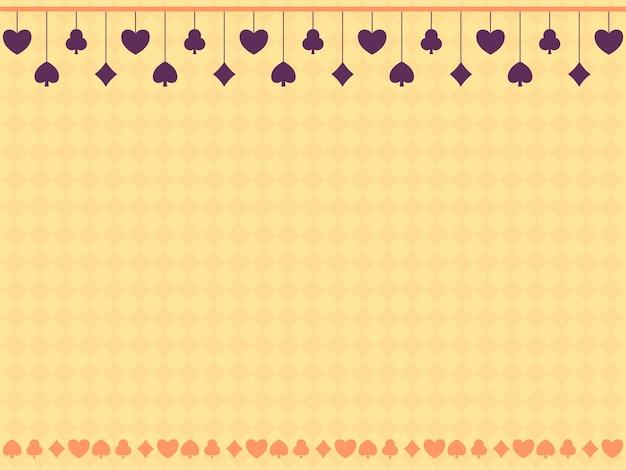 Gele ruit naadloze patroon achtergrond versierd met paarse kaart pakken hangen.